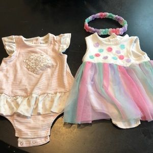2 girl outfits 9m . Price of one!
